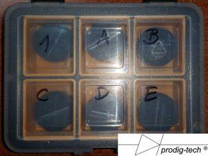 Fot. 9. Przygotowane próbki, oznaczenie próbek wg marek.